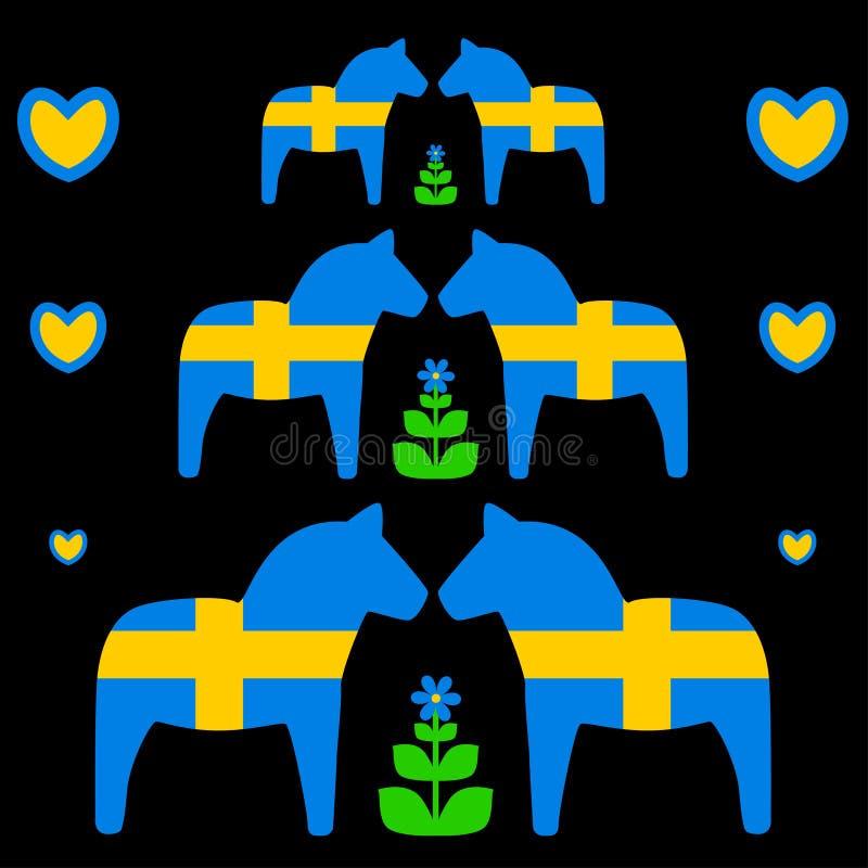 Dala-Pferd mit schwedischer Flagge stockbild