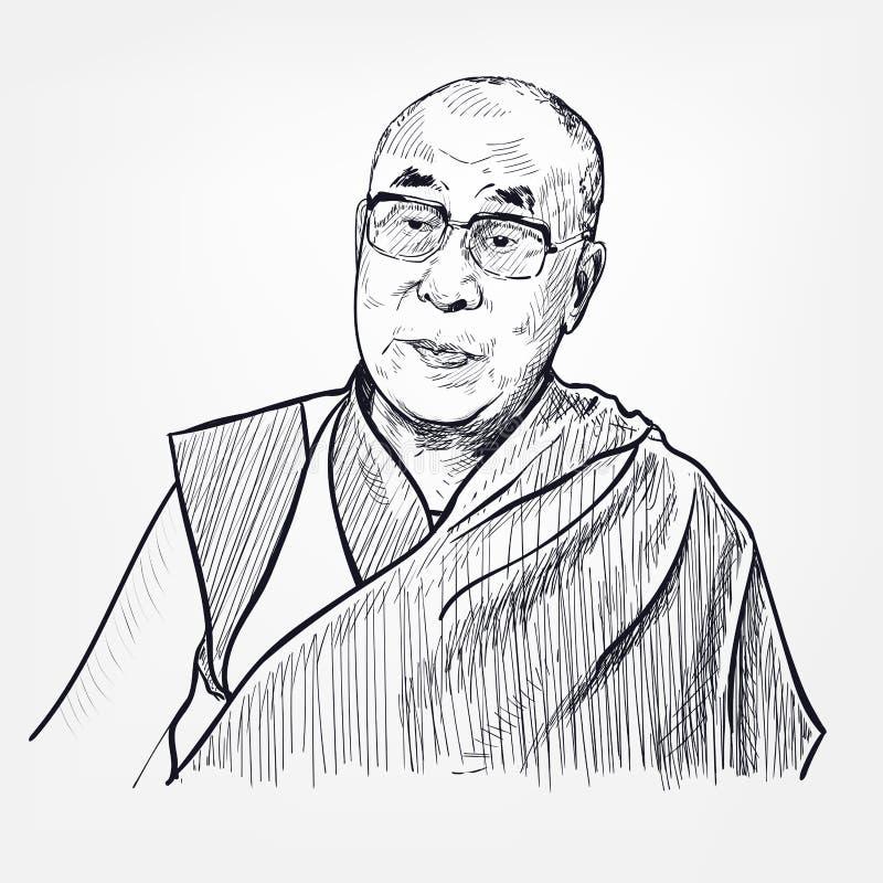 Free Dalai Lama Vector Portrait Sketch Isolated Royalty Free Stock Photos - 188444128