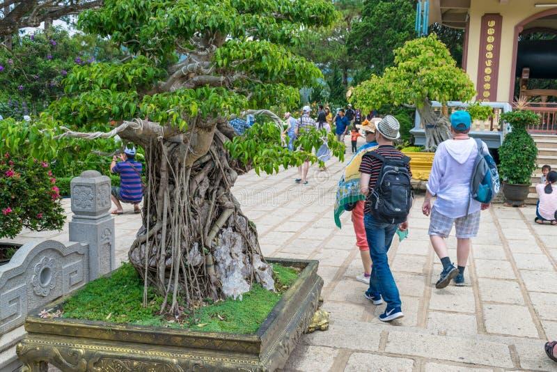 DALAT, ВЬЕТНАМ - 15-ОЕ АПРЕЛЯ 2019: Туристы идут в парк с цветками в Dalat Вьетнаме стоковая фотография