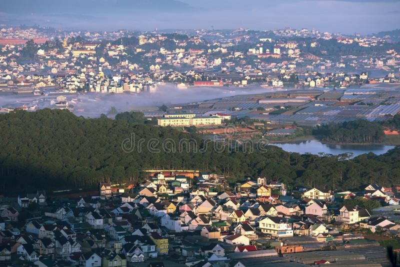 DaLat cityBeautiful houses with tile roofs in the Da Lat city. Beautiful houses with tile roofs in the Da Lat city on hill. DaLat is a famous travel place in royalty free stock photography