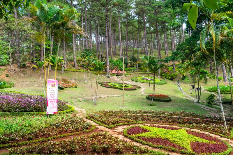 DALAT, VIETNAM - APRIL 15, 2019: Flower beds in a tropical park with palms in Dalat Vietnam royalty free stock photo