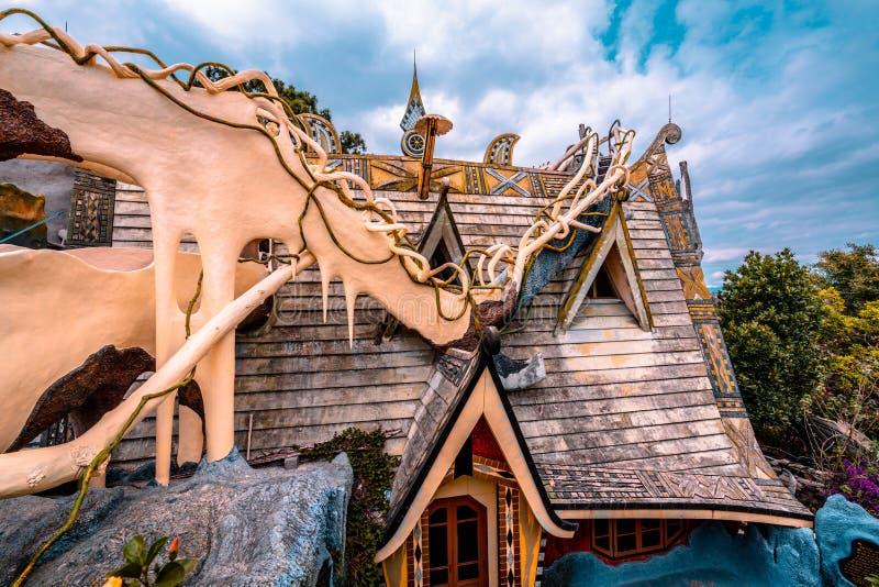 Dalat, Vietnam 23 de janeiro de 2019 Casa de hóspedes de Hang Nga, casa louca, em Dalat, Vietname fotos de stock royalty free