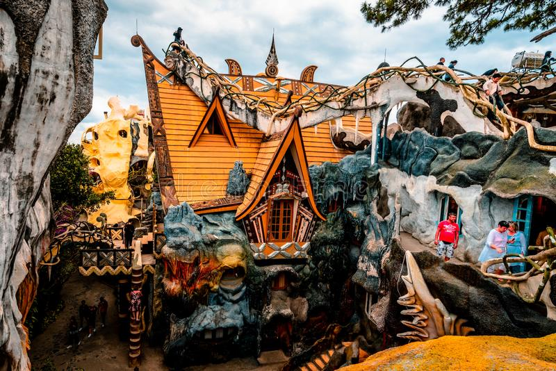 Dalat, Vietnam 23 de janeiro de 2019 Casa de hóspedes de Hang Nga, casa louca, em Dalat, Vietname foto de stock