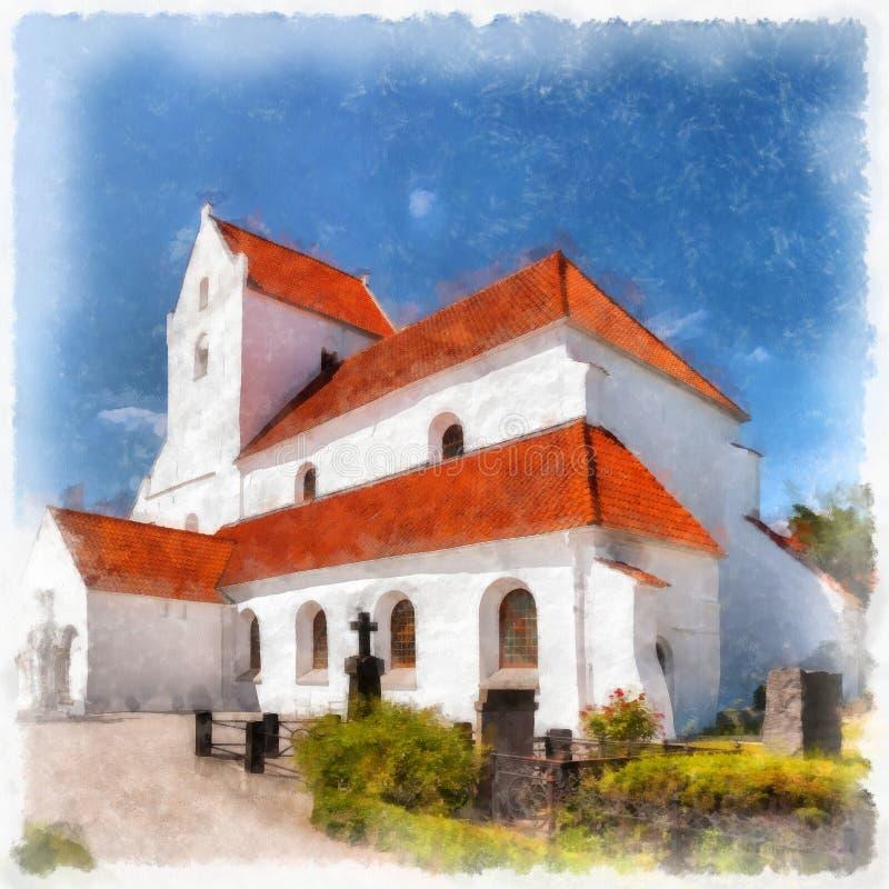 Dalby Kloster数字式水彩绘画 库存例证