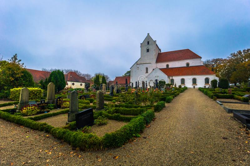 Dalby - October 21, 2017: Historic church of the Holy Crross Priory in Dalby, Sweden royalty free stock photography