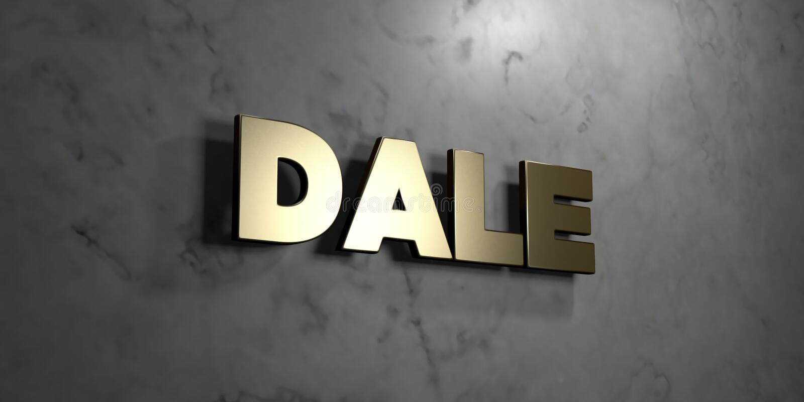 Dale - Gold sign mounted on glossy marble wall - 3D rendered royalty free stock illustration. This image can be used for an online website banner ad or a print royalty free illustration