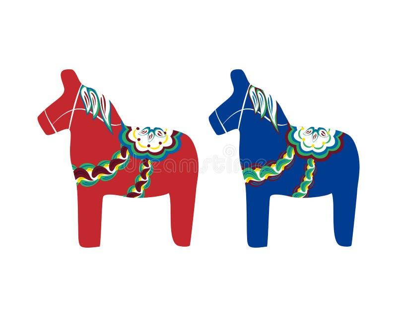 Dalecarlian koń, Szwedzki drewniany koń ilustracja wektor