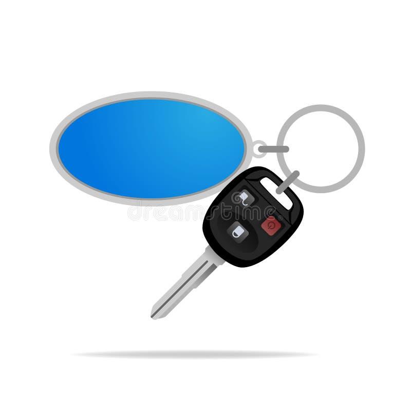 Dalecy samochodów klucze z włamywacza alarmem ochraniać twój samochód od kradzieży, odizolowywającej na białym tle ilustracji