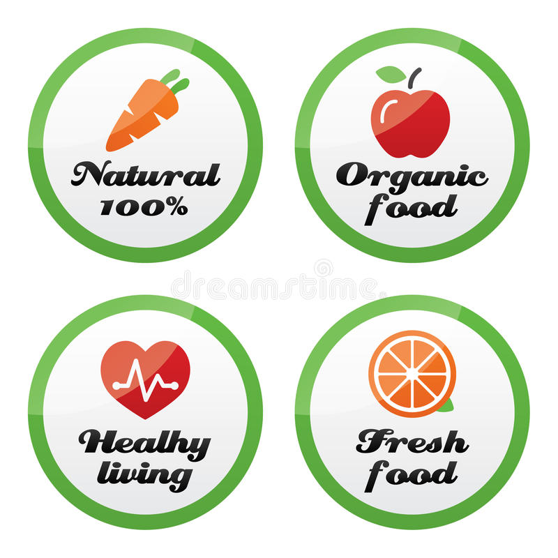 Dalej produkt żywność organiczna świeżych i naturalnych ikony, ilustracja wektor