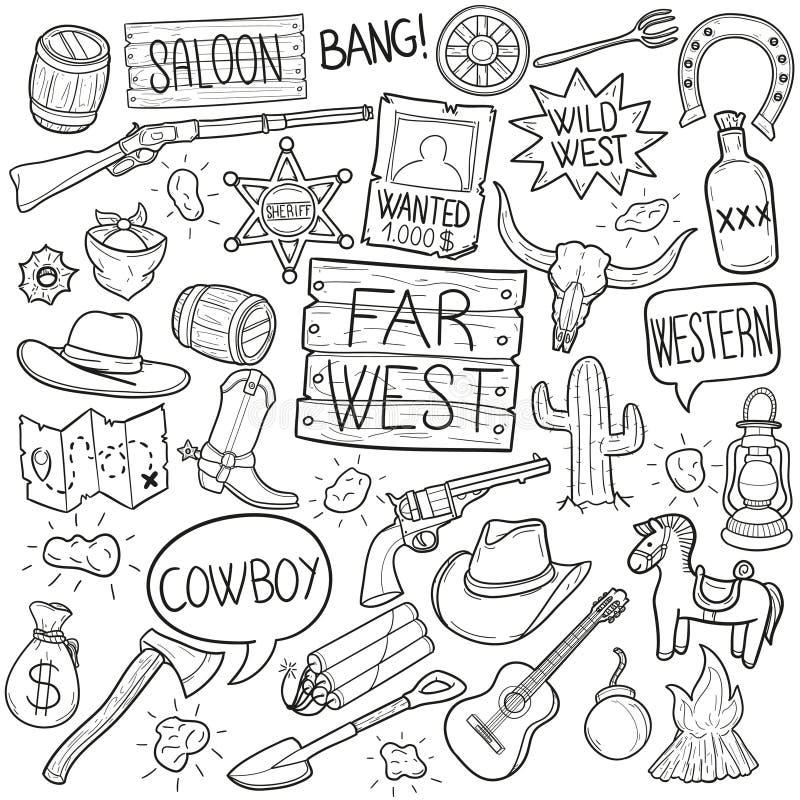 Dalekie Zachodnie Tradycyjne Doodle ikony Kreślą Ręcznie Robiony projekta wektor ilustracji