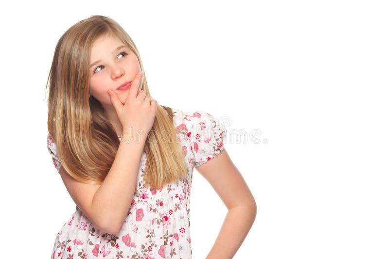 daleko od zgłębia przyglądającą dziewczyny myśl zdjęcie stock