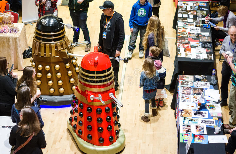 Daleks an der Sciencefiction Scarborough lizenzfreie stockfotos