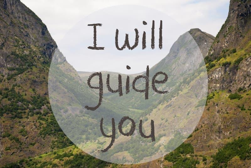Dalen och berget, Norge, text ska jag vägleda dig royaltyfri fotografi