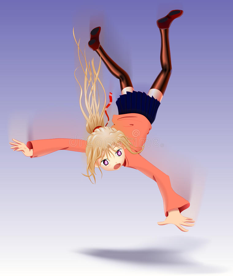 Dalend Anime-Meisje royalty-vrije stock afbeelding