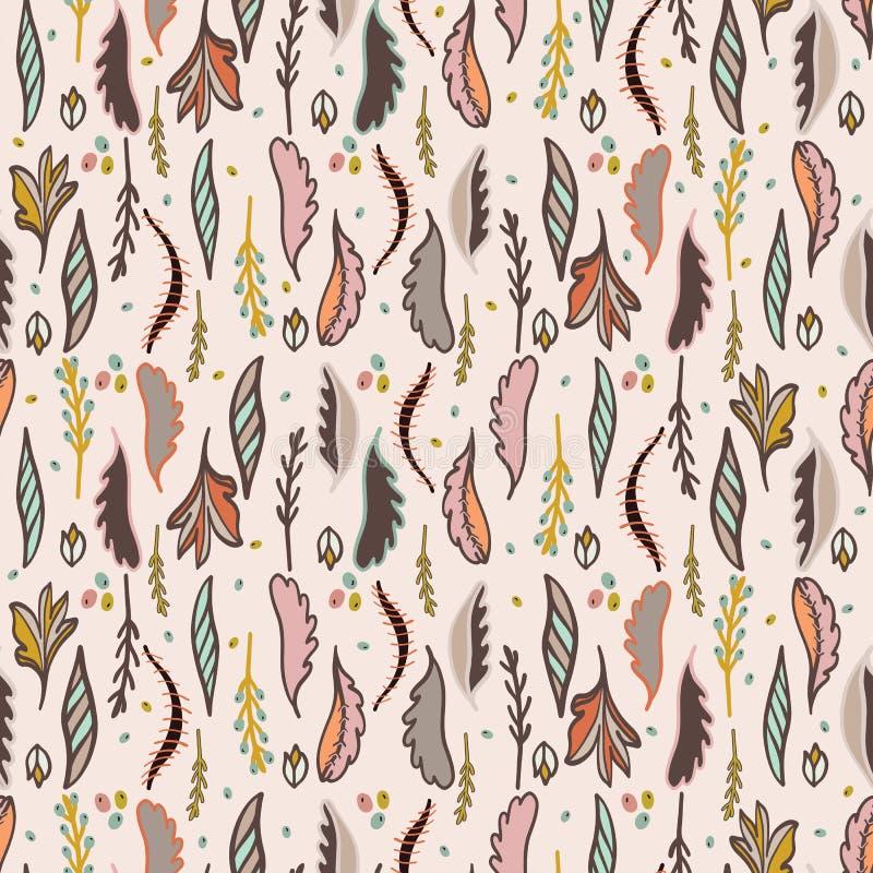 Dalend Autumn Leaves Pattern, Hand Getrokken Naadloze Dalings Vectorillustratie vector illustratie