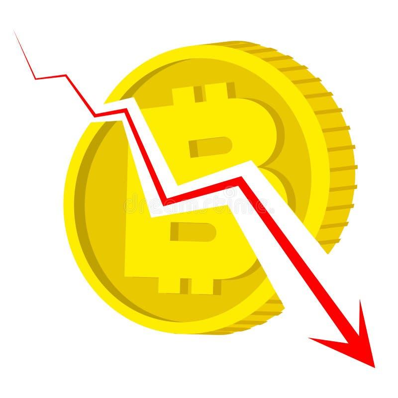 Dalend bitcoin concept - gouden muntstuk met gebroken muntteken stock illustratie