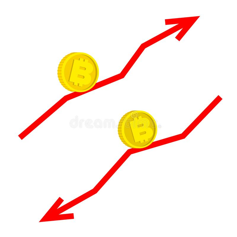 Dalend en groeiend bitcoin concept royalty-vrije illustratie