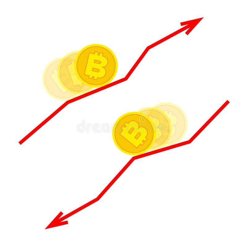 Dalend en groeiend bitcoin concept stock illustratie