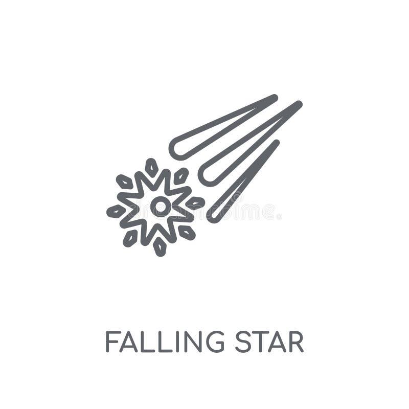 Dalend ster lineair pictogram Moderne overzicht het Vallen conce van het sterembleem stock illustratie