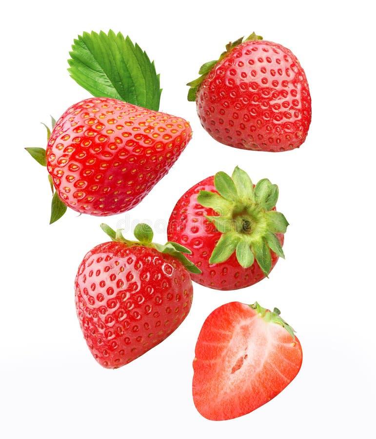 Dalende aardbeien. royalty-vrije stock foto's