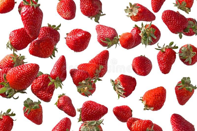 Dalende aardbeien royalty-vrije stock fotografie