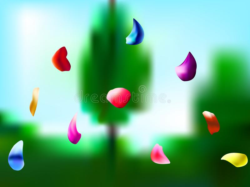 Dalende bloemblaadjes in de tuin vector illustratie
