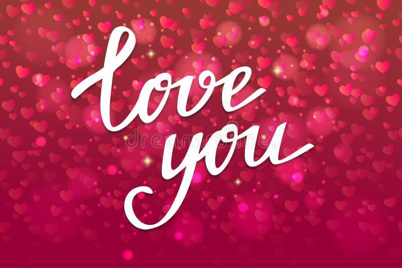 Dalende confettienharten voor Valentijnskaartendag De achtergrond met hoort stock illustratie
