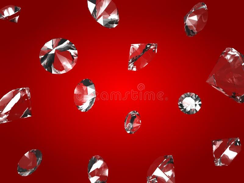 Dalende diamanten stock illustratie