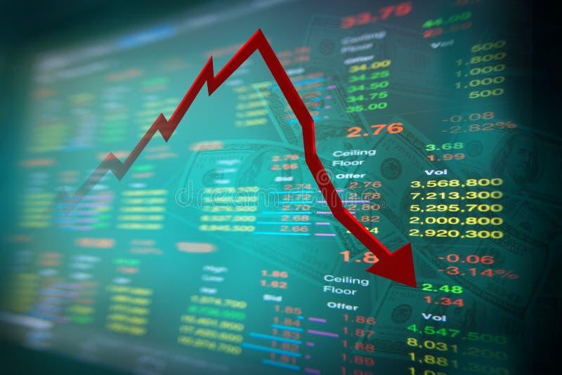 Dalende dollarnota en grafiek van effectenbeurs stock foto's