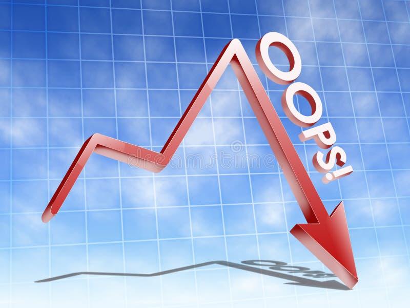 Dalende financiële grafiek neer stock illustratie
