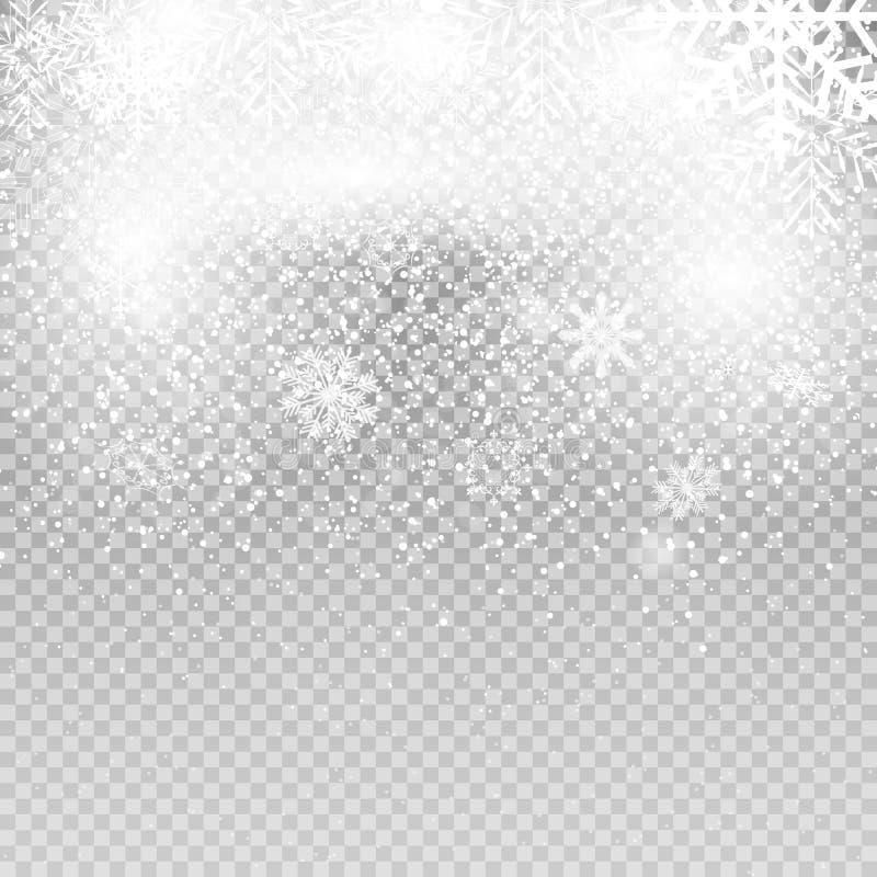 Dalende Glanzende Sneeuwvlokken en Sneeuw op Transparante Achtergrond Kerstmis, de Winternieuwjaar Realistische vector royalty-vrije illustratie