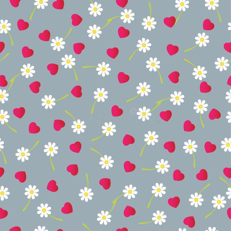 Dalende harten en bloemen, naadloze achtergrond Vector illustratie vector illustratie