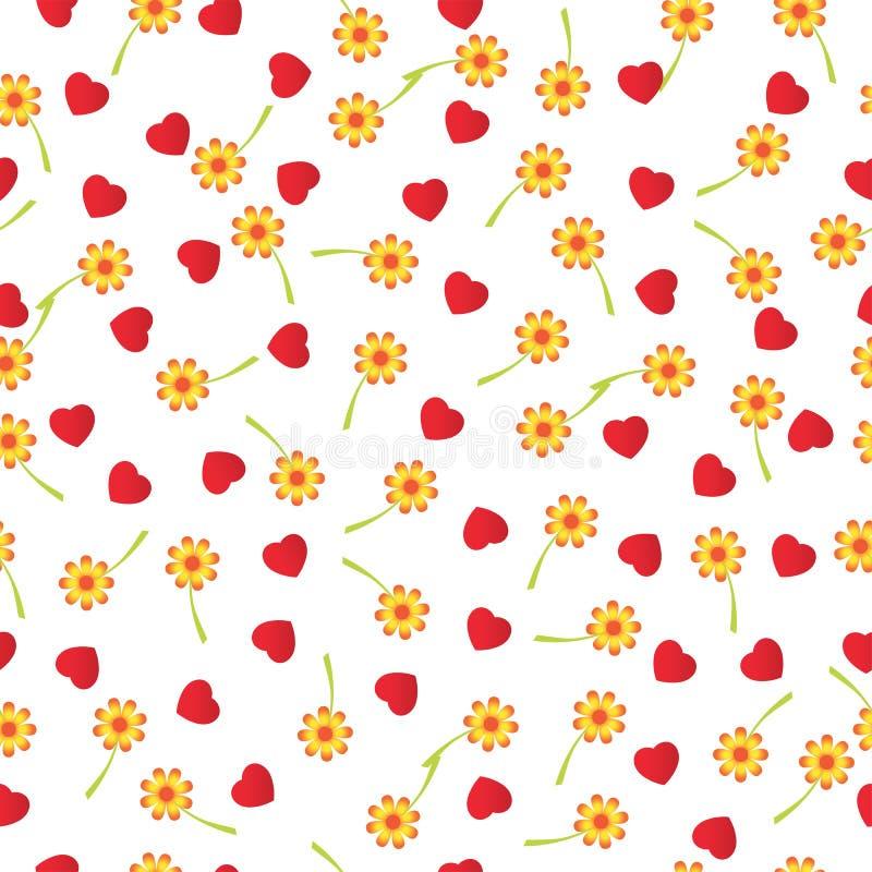 Dalende harten en bloemen, naadloze achtergrond Vector illustratie stock illustratie