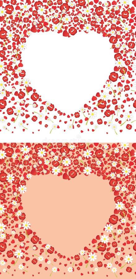 Dalende harten, kussen en bloemenachtergronden Vector illustratie royalty-vrije illustratie