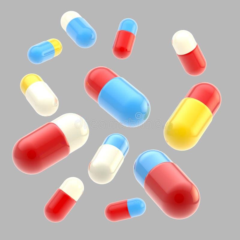 Dalende medische geïsoleerdee pillen royalty-vrije stock foto