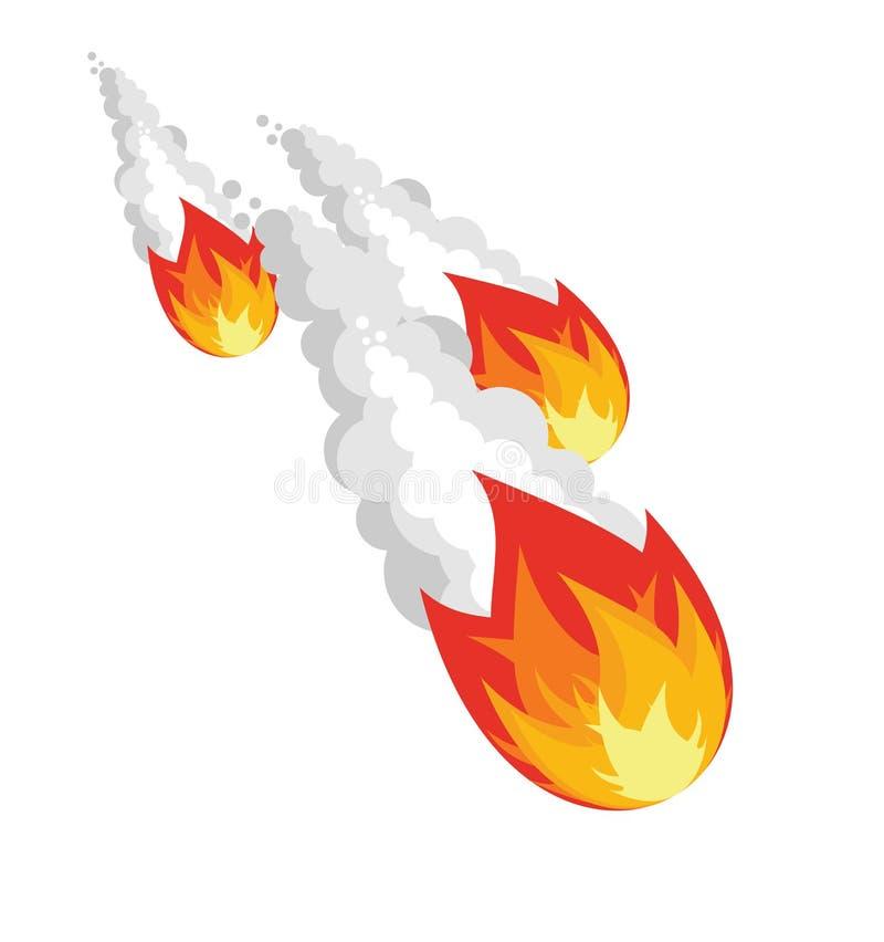 Dalende meteoriet op witte achtergrond vector illustratie