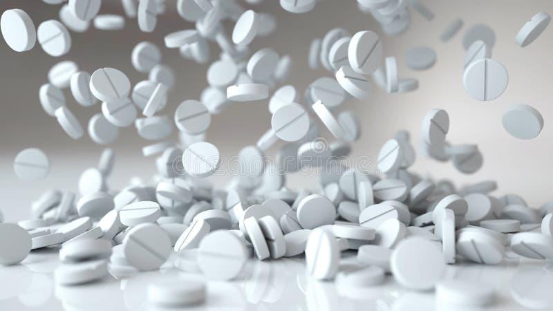 Dalende pillen, tabletten MEDISCH concept het 3d teruggeven vector illustratie