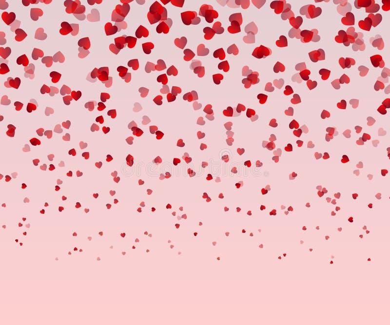 Dalende rode die harten op roze achtergrond worden geïsoleerd Valentijnskaartendag of van de Vrouwendag Kaart Liefde Decoratief v royalty-vrije illustratie