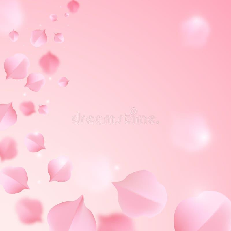 Dalende sakurabladeren op samenvatting vage achtergrond vector illustratie