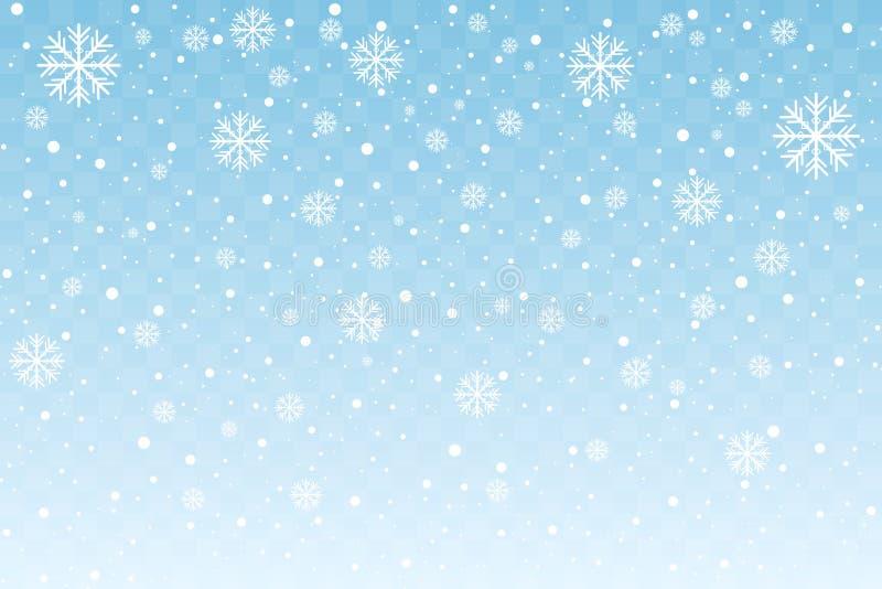 Dalende sneeuw met gestileerde die sneeuwvlokken op blauwe transparante achtergrond worden geïsoleerd Kerstmis en nieuwe jaardeco vector illustratie