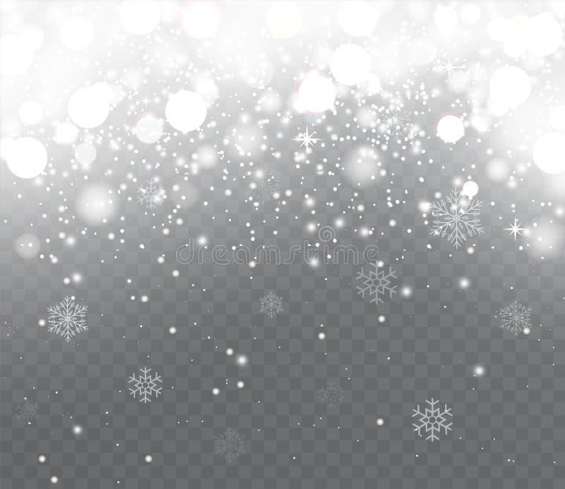 Dalende sneeuw met sneeuwvlokken op transparante achtergrond royalty-vrije illustratie