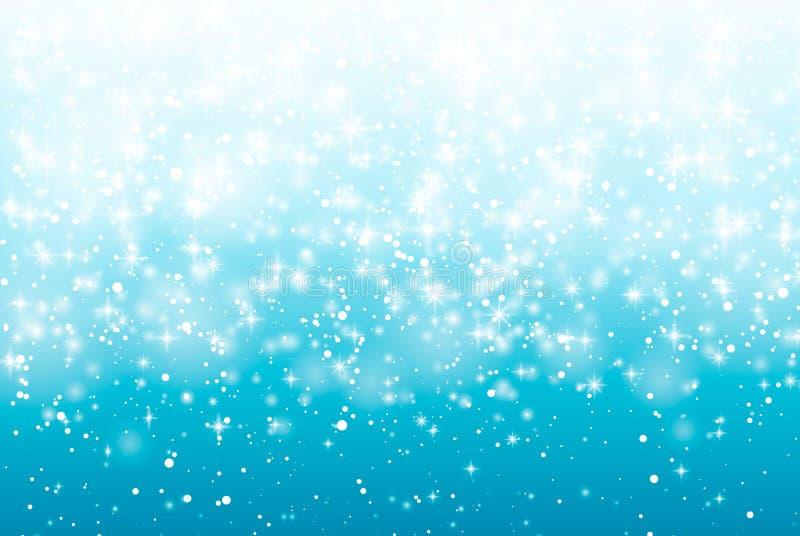 Dalende sneeuw op een blauwe achtergrond Vectorillustratie 10 eps stock illustratie