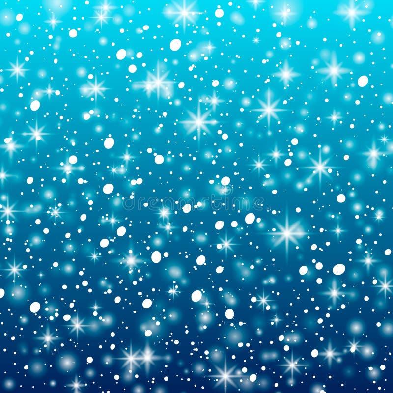 Dalende sneeuw op een blauwe achtergrond Vectorillustratie 10 eps Het abstracte wit schittert sneeuwvlokachtergrond Vector magisc vector illustratie