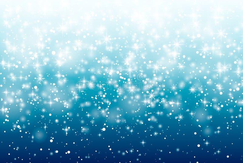 Dalende sneeuw op een blauwe achtergrond Vectorillustratie 10 eps Het abstracte wit schittert sneeuwvlokachtergrond Vector magisc royalty-vrije illustratie