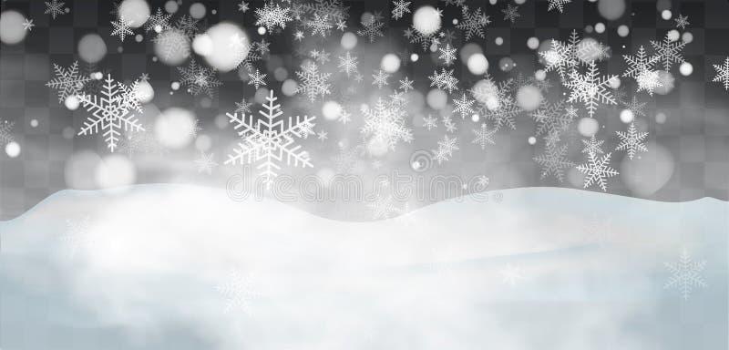 Dalende sneeuw op een transparante achtergrond Sneeuwwolken of sluiers Mist, sneeuwval Abstracte sneeuwvlokachtergrond Val van sn stock illustratie