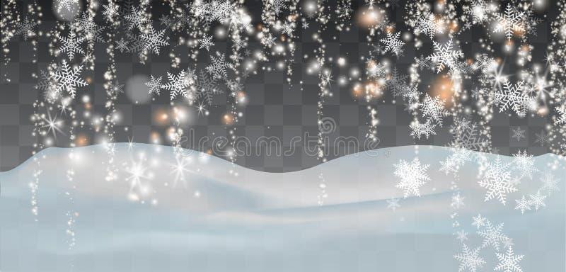 Dalende sneeuw op een transparante achtergrond Sneeuwwolken of sluiers Mist, sneeuwval Abstracte sneeuwvlokachtergrond Val van sn royalty-vrije illustratie
