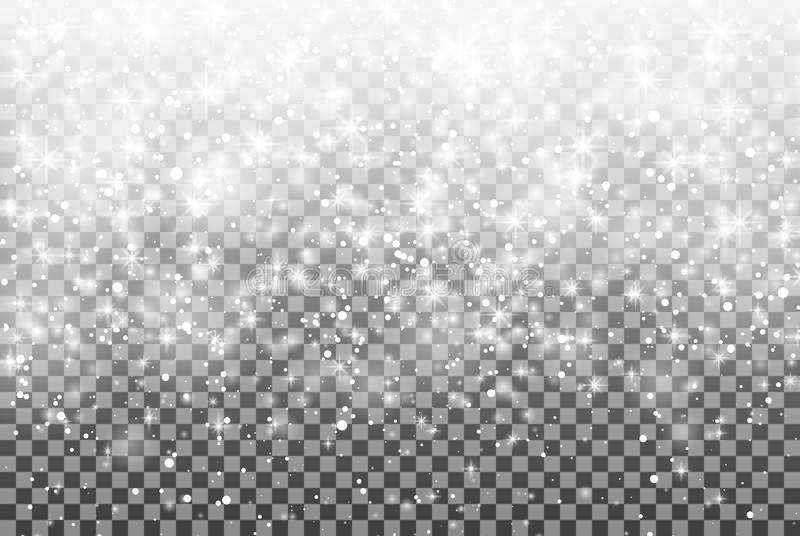 Dalende sneeuw op een transparante achtergrond Vectorillustratie 10 eps vector illustratie