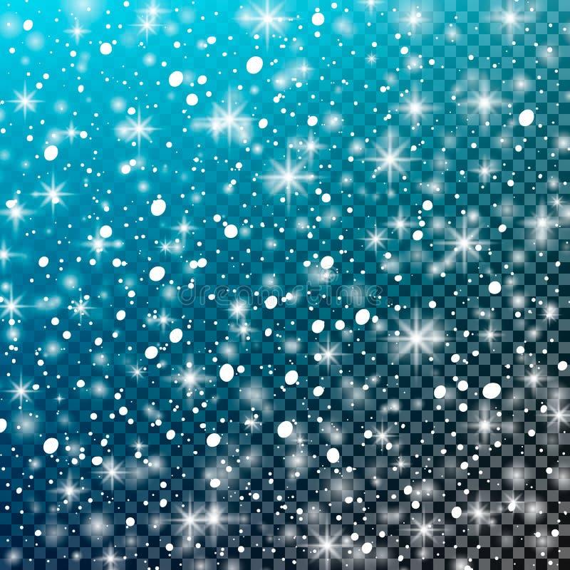 Dalende sneeuw op een transparante blauwe achtergrond Vectorillustratie 10 eps royalty-vrije illustratie