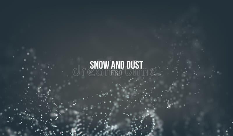 Dalende sneeuwdeeltjes die op de lucht vliegen Stofstormdraaikolk Het effect van Bokeh Sneeuwvlokwolk stock illustratie