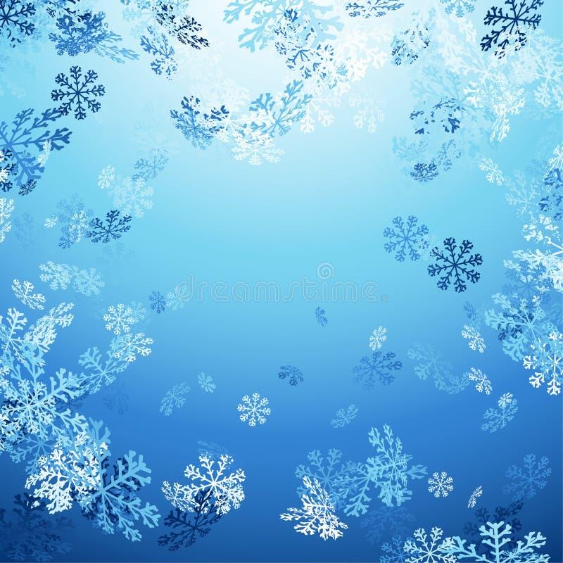 Dalende sneeuwvlokken over heldere blauwe achtergrond stock illustratie